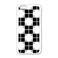 Plaid Black White Apple Iphone 6/6s White Enamel Case by Mariart