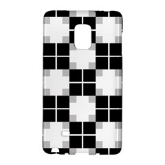 Plaid Black White Galaxy Note Edge by Mariart