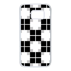 Plaid Black White Samsung Galaxy S7 White Seamless Case by Mariart