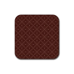 Coloured Line Squares Brown Plaid Chevron Rubber Square Coaster (4 Pack)  by Mariart