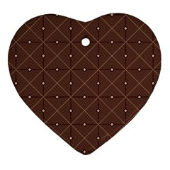 Coloured Line Squares Brown Plaid Chevron Heart Ornament (two Sides) by Mariart