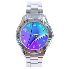 Line Blue Light Space Purple Stainless Steel Analogue Watch by Mariart