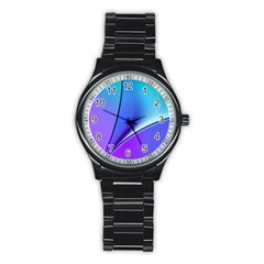 Line Blue Light Space Purple Stainless Steel Round Watch by Mariart