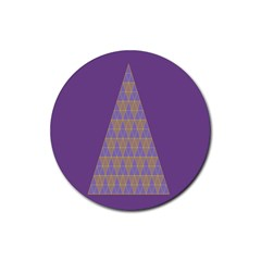 Pyramid Triangle  Purple Rubber Round Coaster (4 Pack)  by Mariart