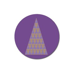 Pyramid Triangle  Purple Magnet 3  (round) by Mariart