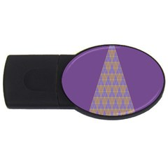 Pyramid Triangle  Purple Usb Flash Drive Oval (4 Gb)