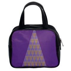 Pyramid Triangle  Purple Classic Handbags (2 Sides) by Mariart