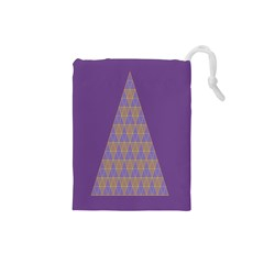Pyramid Triangle  Purple Drawstring Pouches (small)  by Mariart