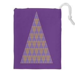 Pyramid Triangle  Purple Drawstring Pouches (xxl) by Mariart