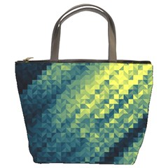 Polygon Dark Triangle Green Blacj Yellow Bucket Bags by Mariart