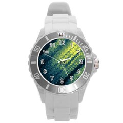 Polygon Dark Triangle Green Blacj Yellow Round Plastic Sport Watch (l) by Mariart