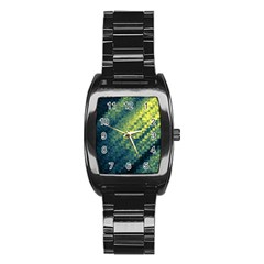Polygon Dark Triangle Green Blacj Yellow Stainless Steel Barrel Watch by Mariart
