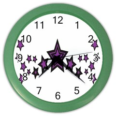 Star Purple Space Color Wall Clocks by Mariart