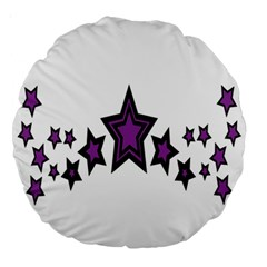 Star Purple Space Large 18  Premium Round Cushions by Mariart