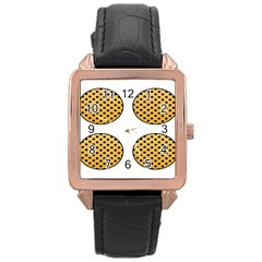 Star Circle Orange Round Polka Rose Gold Leather Watch  by Mariart