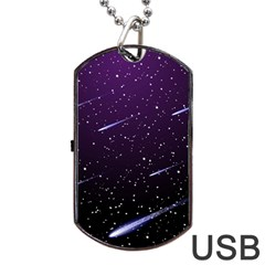 Starry Night Sky Meteor Stock Vectors Clipart Illustrations Dog Tag Usb Flash (one Side) by Mariart