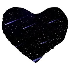 Starry Night Sky Meteor Stock Vectors Clipart Illustrations Large 19  Premium Heart Shape Cushions by Mariart