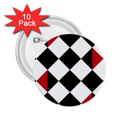 Survace Floor Plaid Bleck Red White 2 25  Buttons (10 Pack)  by Mariart