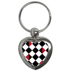 Survace Floor Plaid Bleck Red White Key Chains (heart)  by Mariart