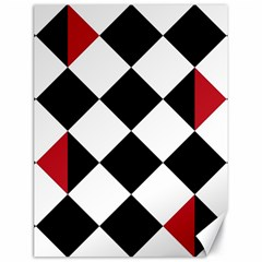 Survace Floor Plaid Bleck Red White Canvas 18  X 24   by Mariart