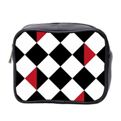 Survace Floor Plaid Bleck Red White Mini Toiletries Bag 2 Side by Mariart