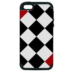 Survace Floor Plaid Bleck Red White Apple Iphone 5 Hardshell Case (pc+silicone) by Mariart