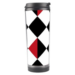 Survace Floor Plaid Bleck Red White Travel Tumbler by Mariart