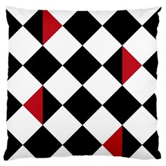 Survace Floor Plaid Bleck Red White Large Flano Cushion Case (one Side)