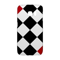 Survace Floor Plaid Bleck Red White Galaxy S6 Edge by Mariart
