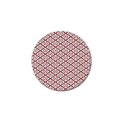Pattern Kawung Star Line Plaid Flower Floral Red Golf Ball Marker (4 Pack)