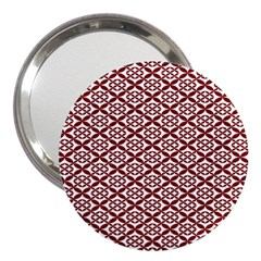 Pattern Kawung Star Line Plaid Flower Floral Red 3  Handbag Mirrors by Mariart