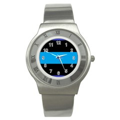 Tomboy Playboy Flag Blue Black Mline Stainless Steel Watch by Mariart