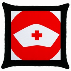 Tabla Laboral Sign Red White Throw Pillow Case (black) by Mariart