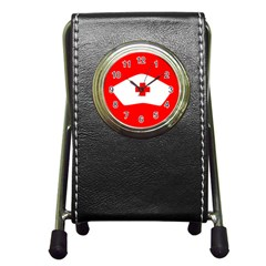 Tabla Laboral Sign Red White Pen Holder Desk Clocks by Mariart