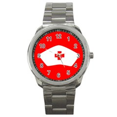 Tabla Laboral Sign Red White Sport Metal Watch by Mariart