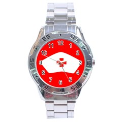 Tabla Laboral Sign Red White Stainless Steel Analogue Watch by Mariart