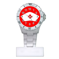 Tabla Laboral Sign Red White Plastic Nurses Watch by Mariart