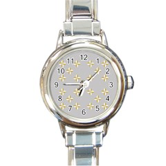 Syrface Flower Floral Gold White Space Star Round Italian Charm Watch by Mariart