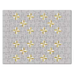 Syrface Flower Floral Gold White Space Star Rectangular Jigsaw Puzzl by Mariart