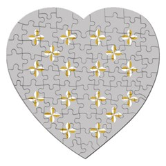 Syrface Flower Floral Gold White Space Star Jigsaw Puzzle (heart) by Mariart