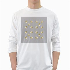 Syrface Flower Floral Gold White Space Star White Long Sleeve T Shirts