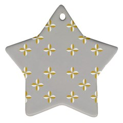 Syrface Flower Floral Gold White Space Star Star Ornament (two Sides)