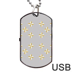 Syrface Flower Floral Gold White Space Star Dog Tag Usb Flash (two Sides) by Mariart