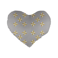 Syrface Flower Floral Gold White Space Star Standard 16  Premium Flano Heart Shape Cushions by Mariart