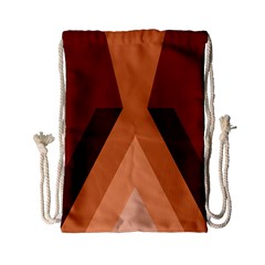 Volcano Lava Gender Magma Flags Line Brown Drawstring Bag (small) by Mariart