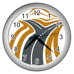 Transparent All Road Tours Bus Charter Street Wall Clocks (silver)  by Mariart
