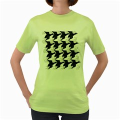 Swan Black Animals Fly Women s Green T-shirt