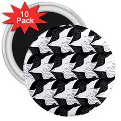 Swan Black Animals Fly 3  Magnets (10 Pack)  by Mariart