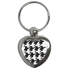Swan Black Animals Fly Key Chains (heart)  by Mariart