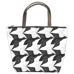Swan Black Animals Fly Bucket Bags by Mariart